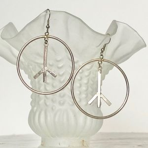Sterling silver peace sign dangle hoop earrings